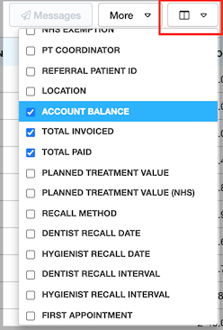Dentally Patients Report Attribute selector