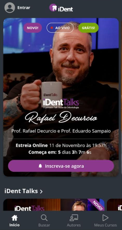 imagem do aplicativo de cursos de odontologia do iDent com dark mode ou modo escudo