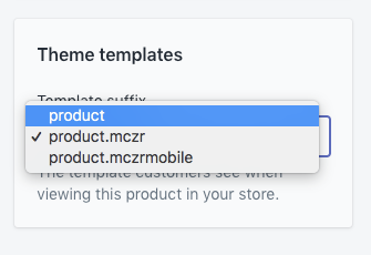 Product theme template