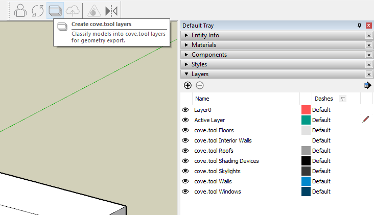 Sketchup layers for a single bulding type.