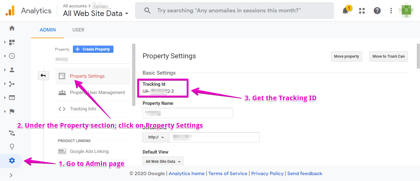 Where to find your Google Analytics Tracking ID