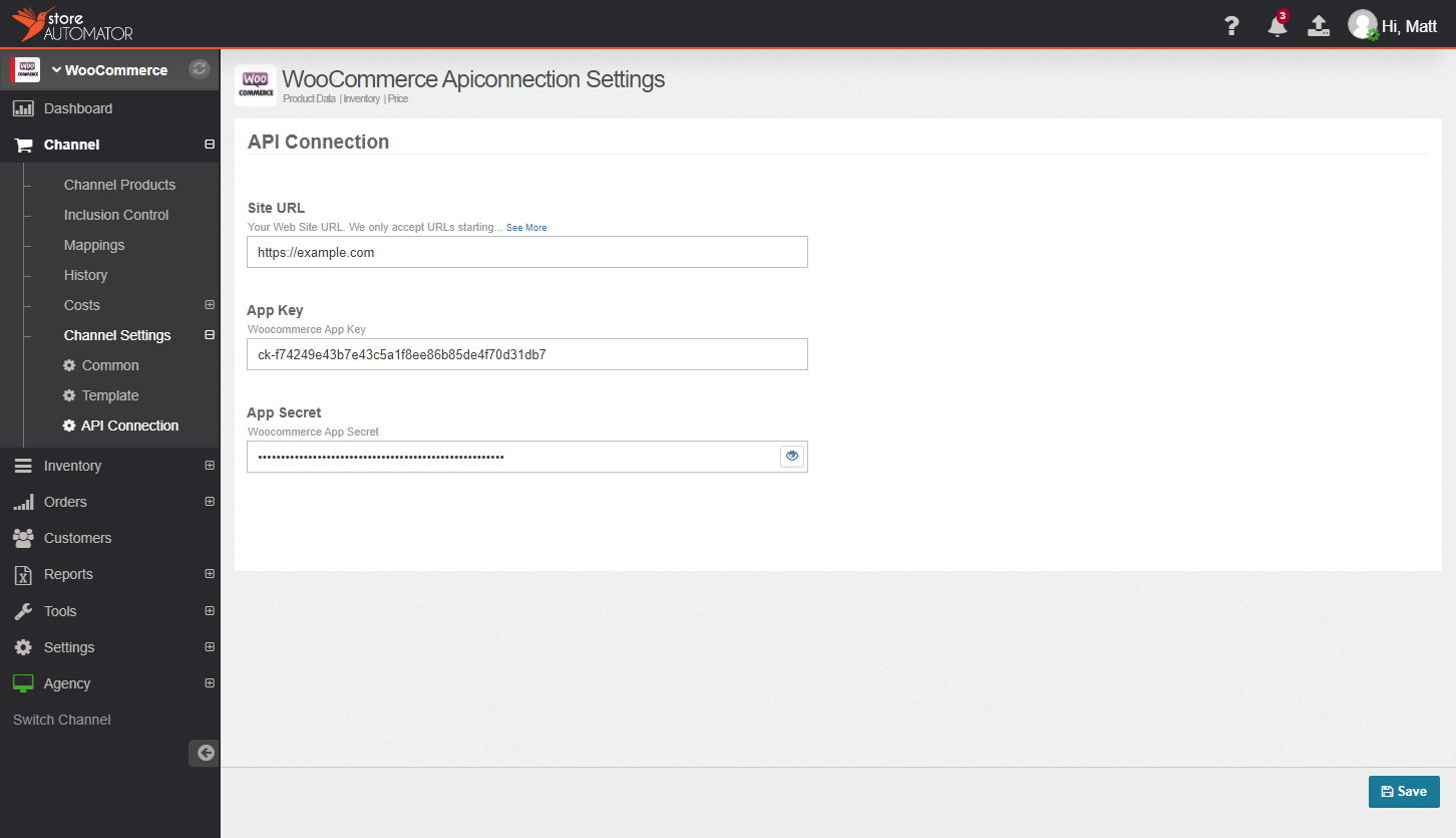 Woocommerce API connection settings