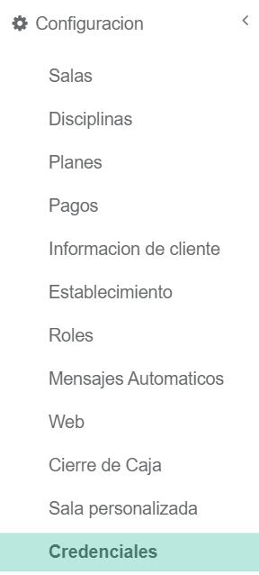 Configuración - credenciales Fitco