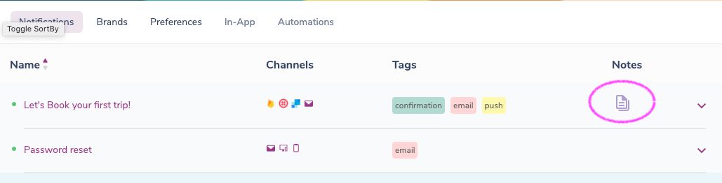 Notification Notes in the Template Selector
