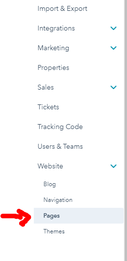 Website pages of Hubspot account