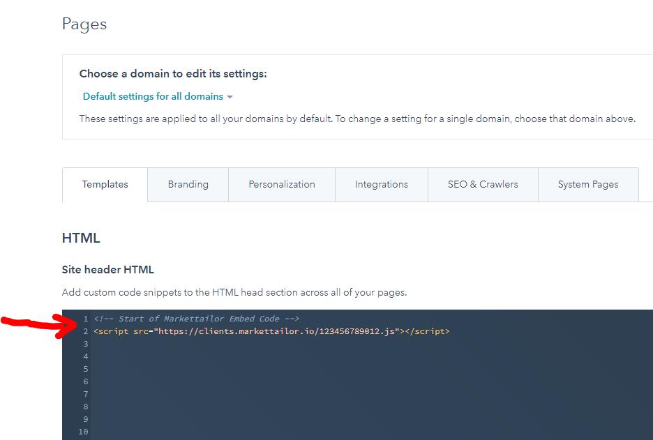 Paste the Markettailor installation script to your site header HTML