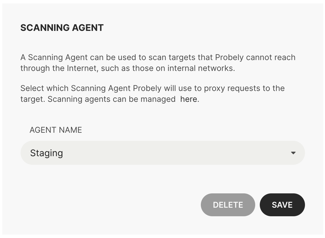 Configuring a Scanning Agent for a Target