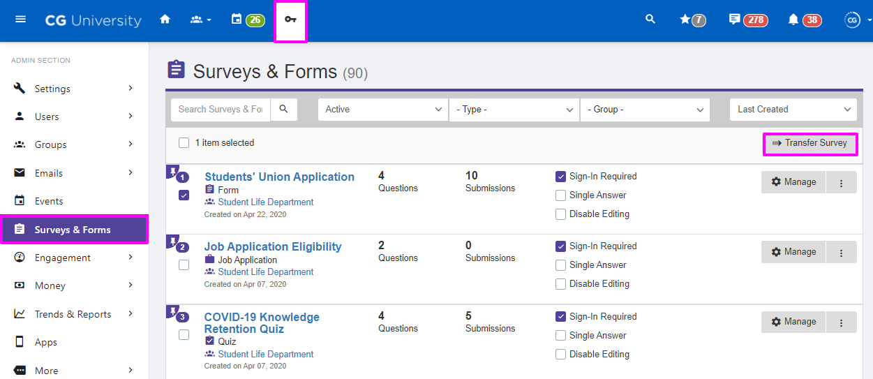 Admin view of the Surveys & Forms Page highlighting the transfer survey option       Reply…      Also send to cool_kids