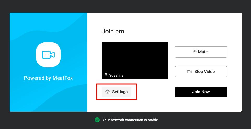 Change Settings in MeetFox video call
