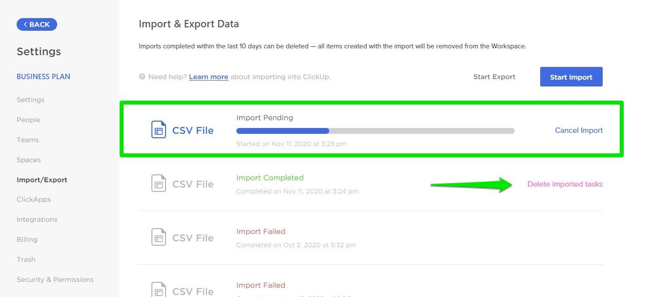 How to cancel or delete an Import