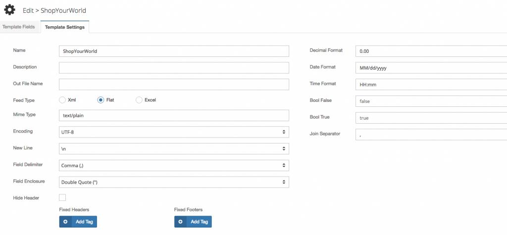 Edit Product Data Templates