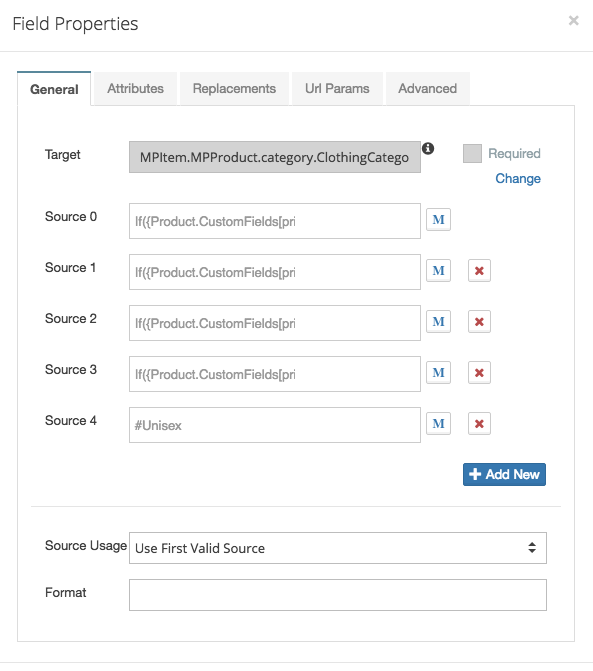 Product  Data Template Field Properties