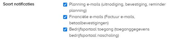 E-mail naar bedrijf Dation administratie