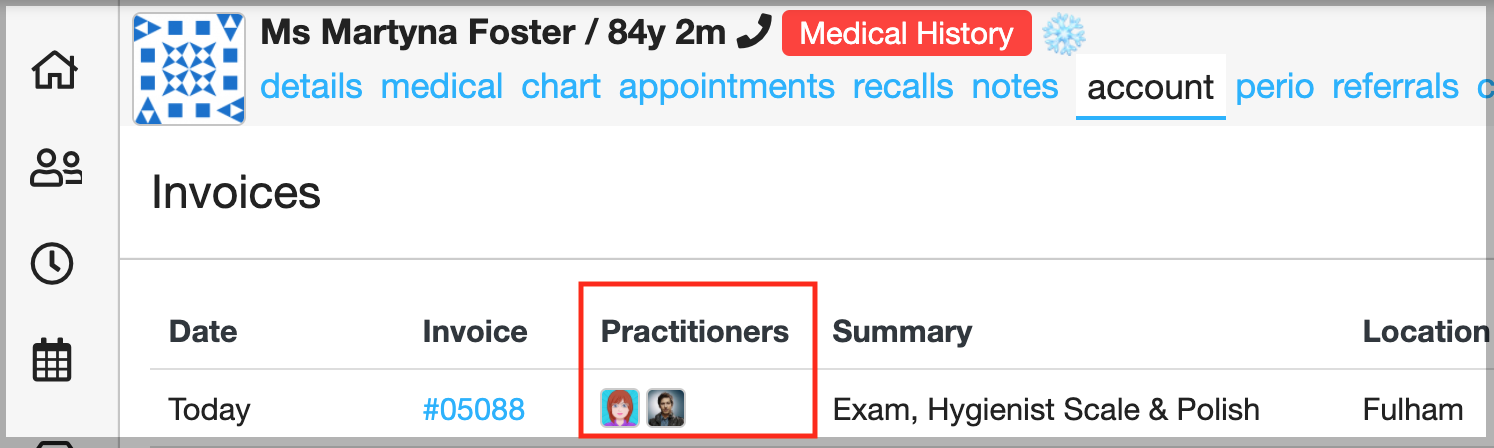 Dentally Invoice showing two practitioners