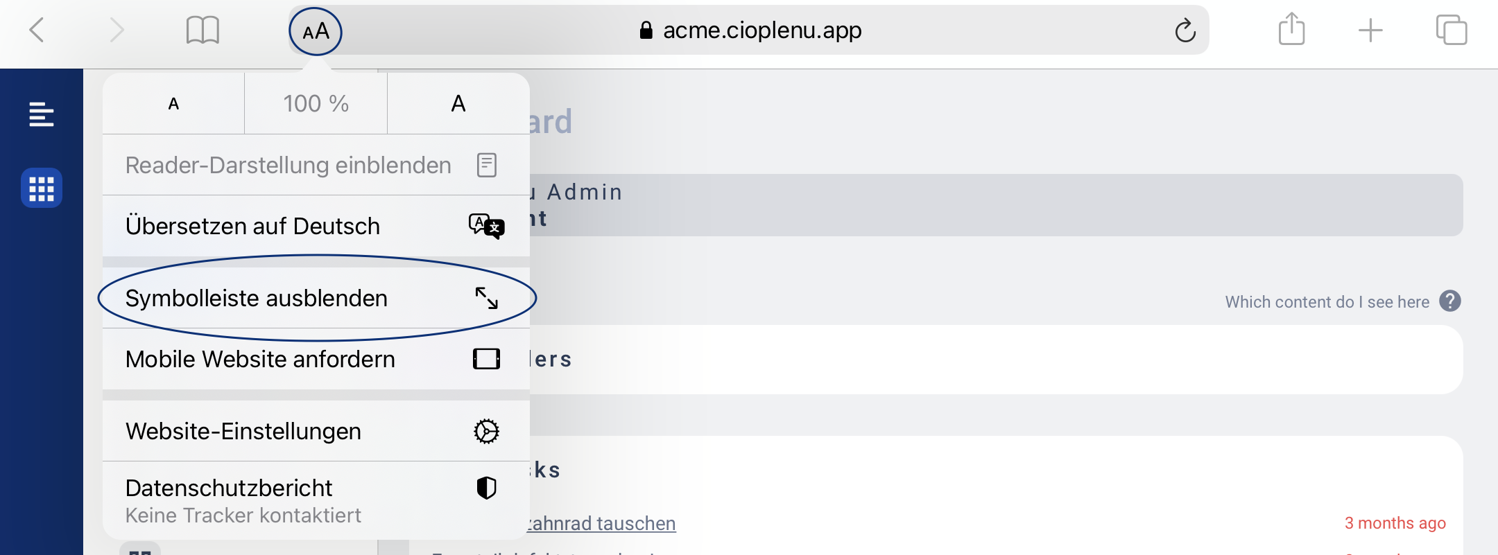 iOS Safari Symbolleiste ausblenden
