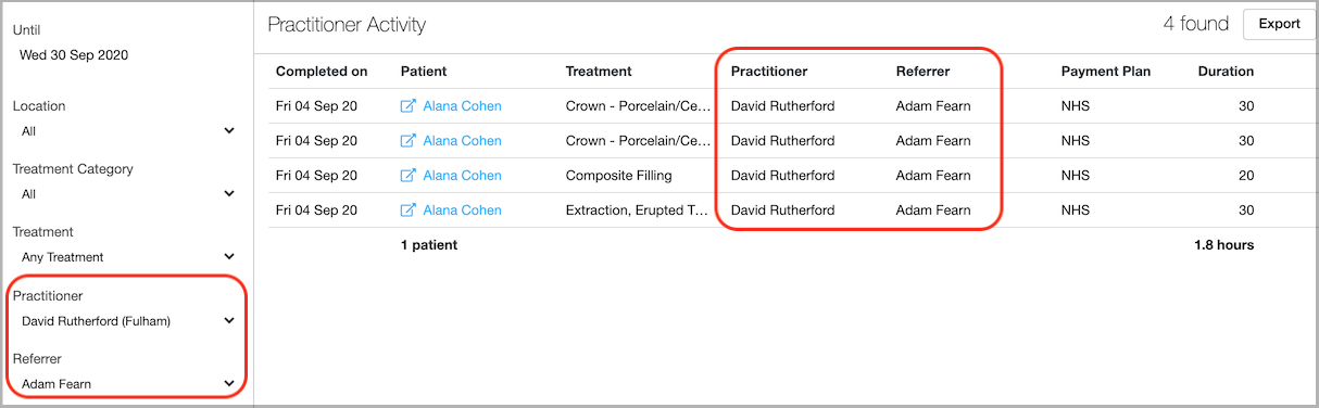 Dentally  Practitioner Activity Report Practitioner and Referrer