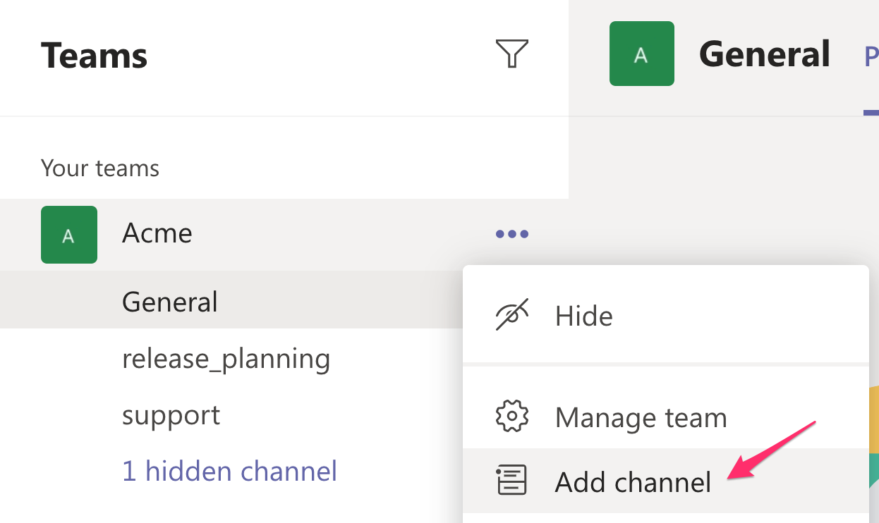 Add channel to Microsoft Teams