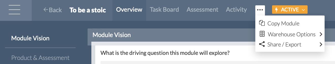 Top Module Menu, including anytime copy a module