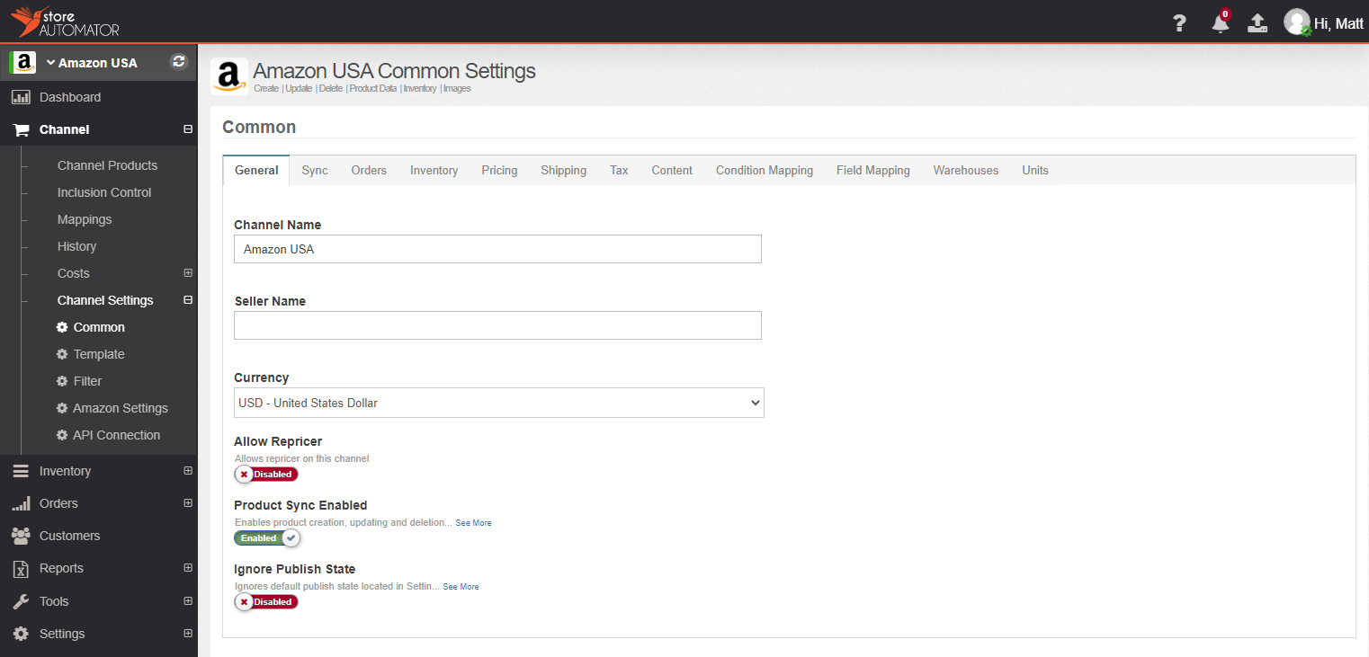 Customize Channel Settings