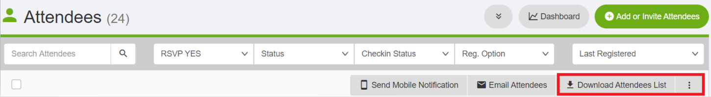 Download Attendee List button