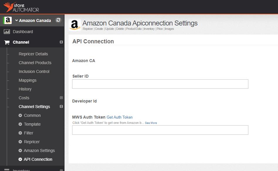 Amazon API settings