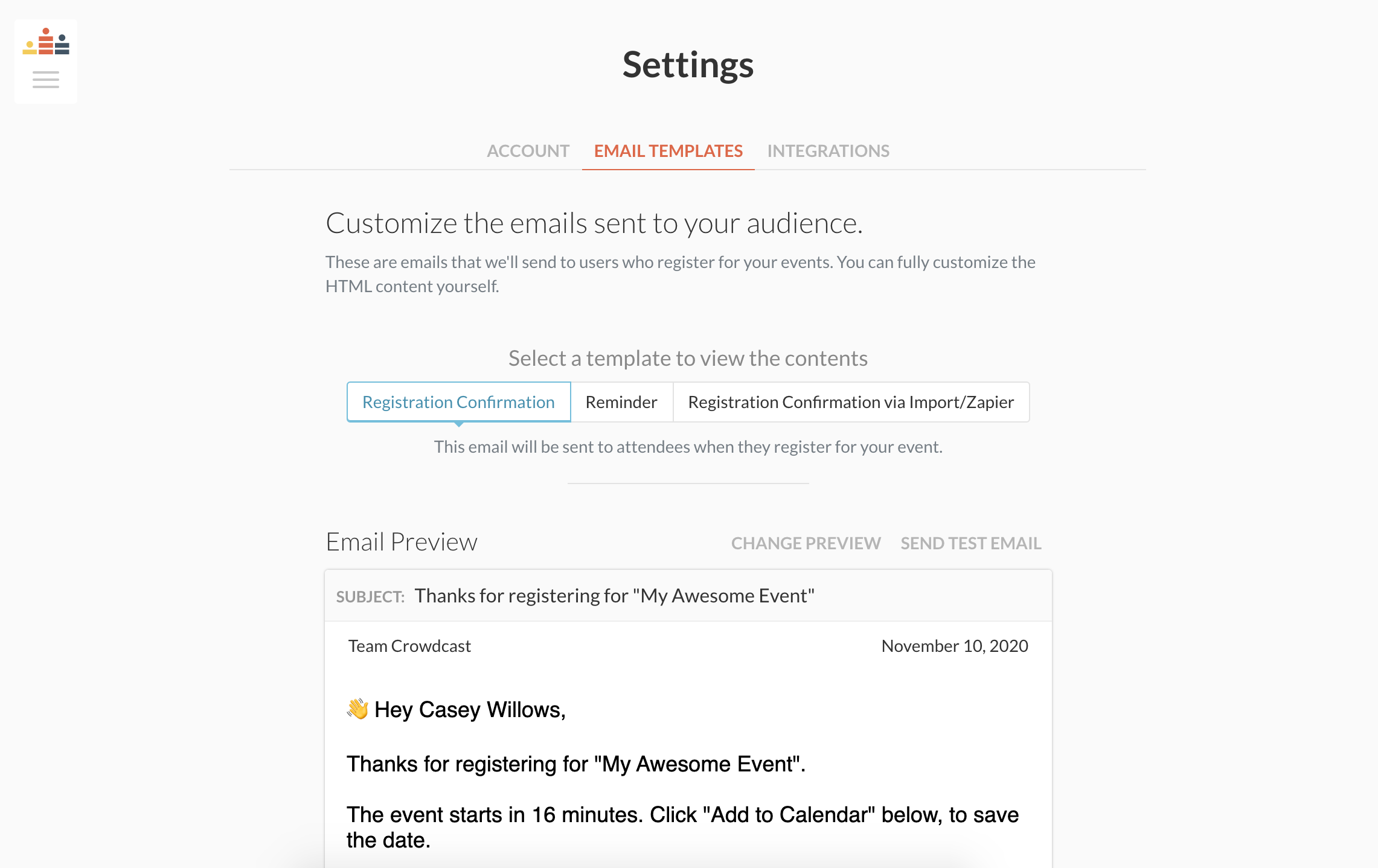 email templates found from settings