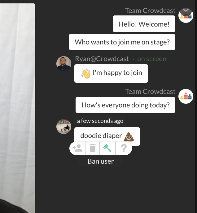 ban attendee from the chat wall