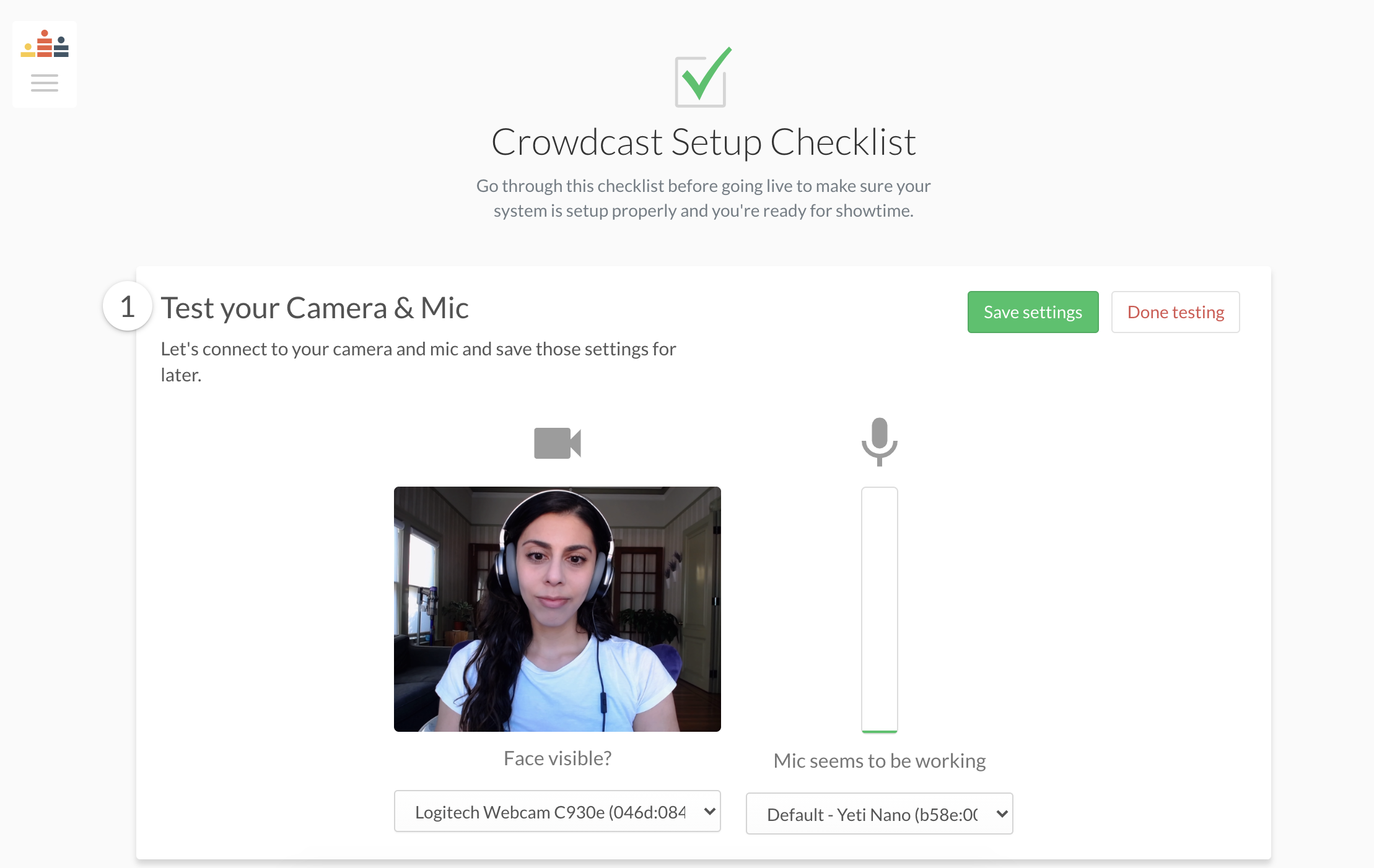 The setup page where you test your camera and mic
