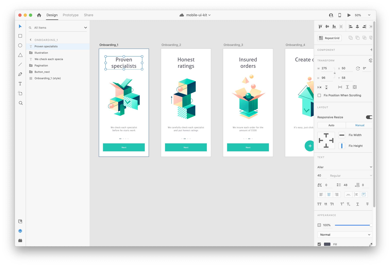 Adobe XD design before conversion