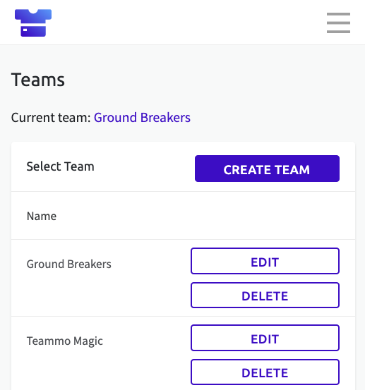 Screenshot of the Teams page in Teammo, where you can toggle between teams, and create new teams