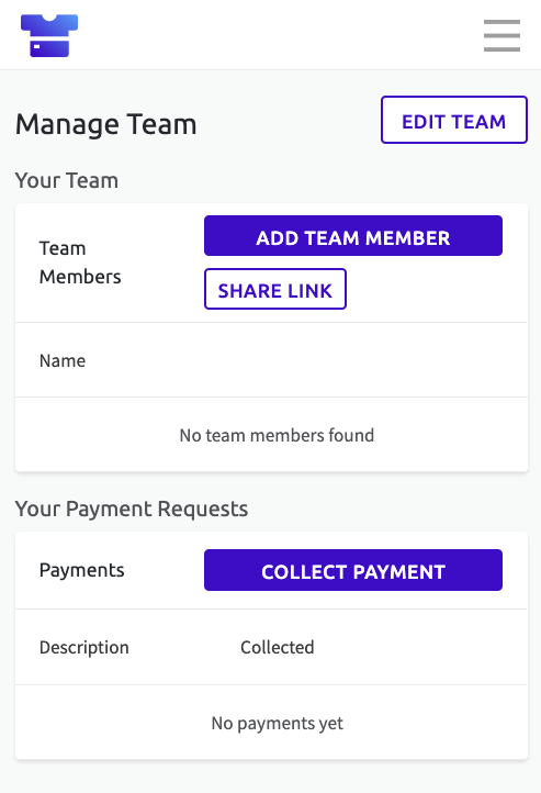 Screenshot of the Manage Team page in Teammo, where you can add/edit team members and request payments