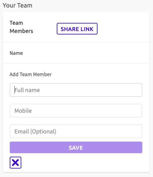 Screenshot of how to add a team member to your team, by entering name, mobile and email (optional)