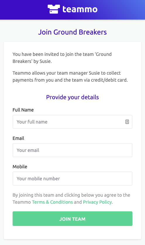 Screenshot of the link team members can receive from team managers to enter their details. Once done, they will be added to your team in Teammo