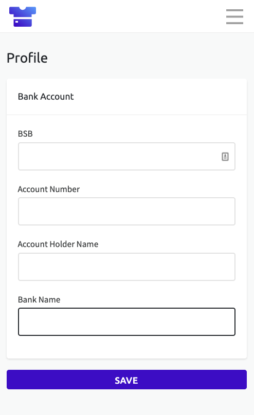 Screenshot of the bank details page in Teammo. These details are required before you can receive funds from team members.