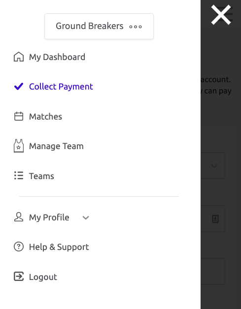 A screenshot of the menu in Teammo, with Collect Payment highlighted