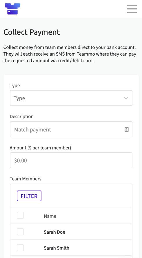 Screenshot of the Collect Payment page in Teammo, where you can request funds from team members
