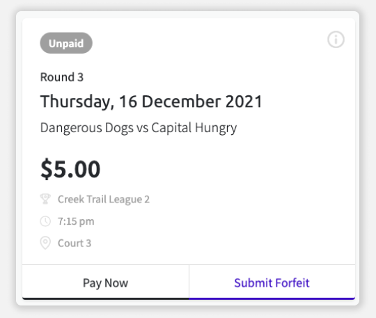 Screenshot of match card in Teammo, where you can submit a forfeit
