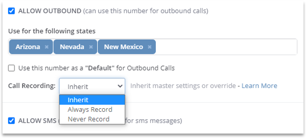 Phone Number Settings within ClickPoint Lead Manager