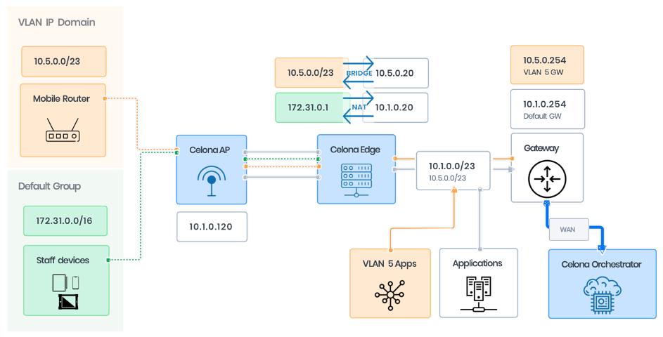 Celona Edge IP Domains VLAN Mode