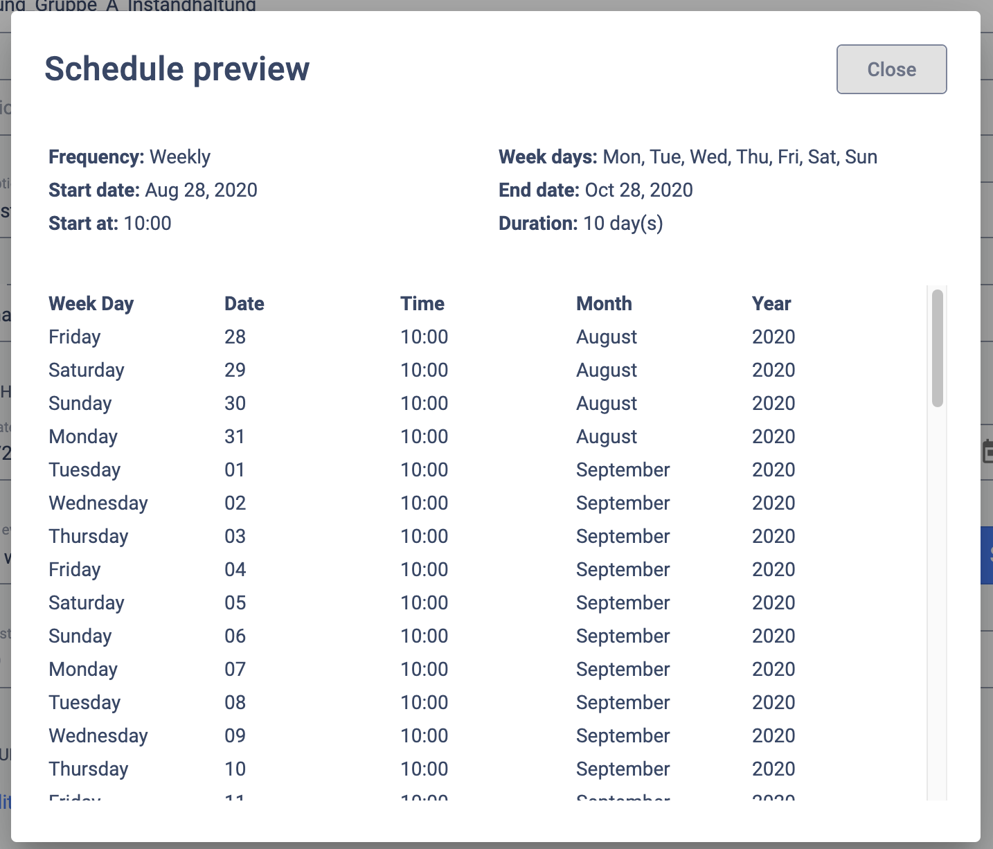 schedule preview view for rules
