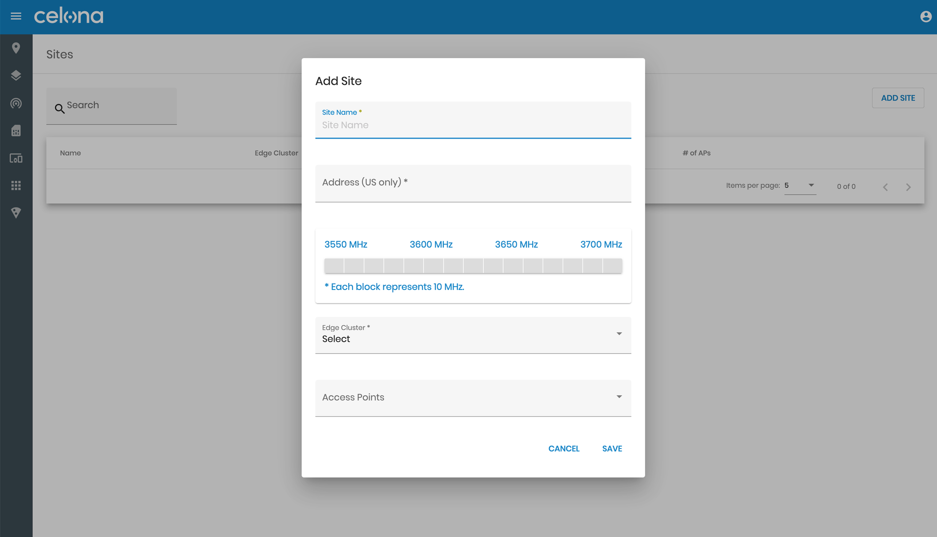 Adding a site on the Celona Orchestrator