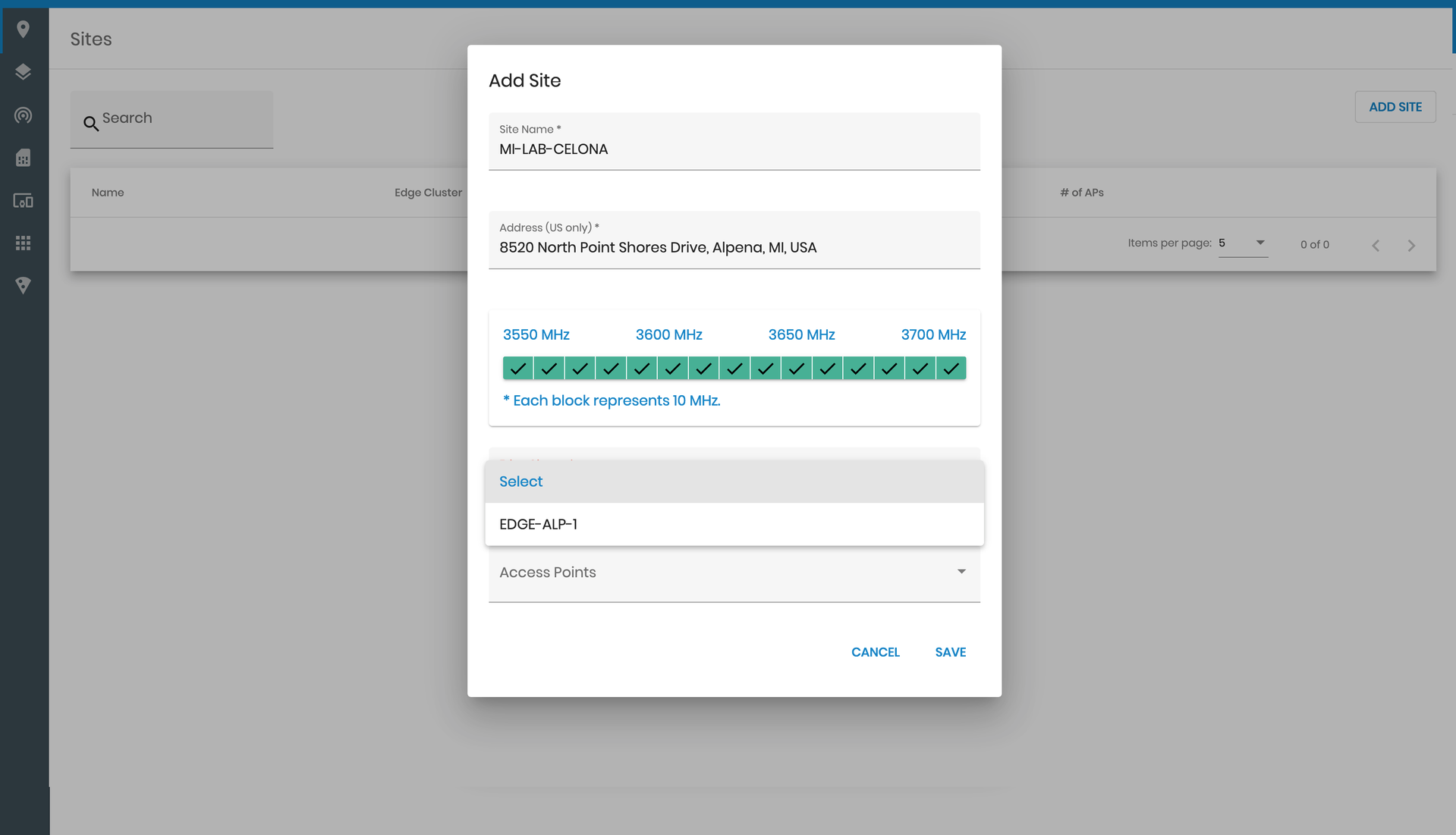 Adding Edge Clusters to a site on the Celona Orchestrator