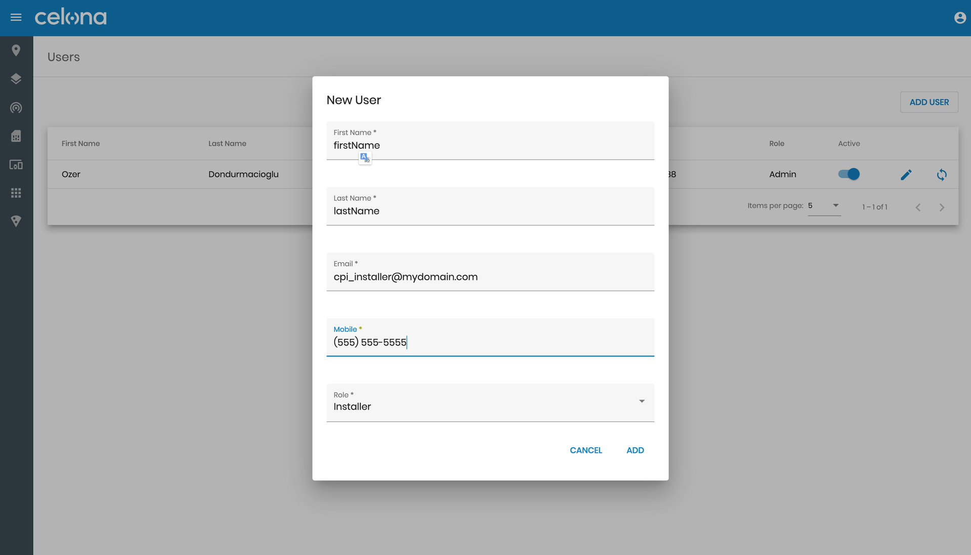 Adding a new user within the Celona Orchestrator