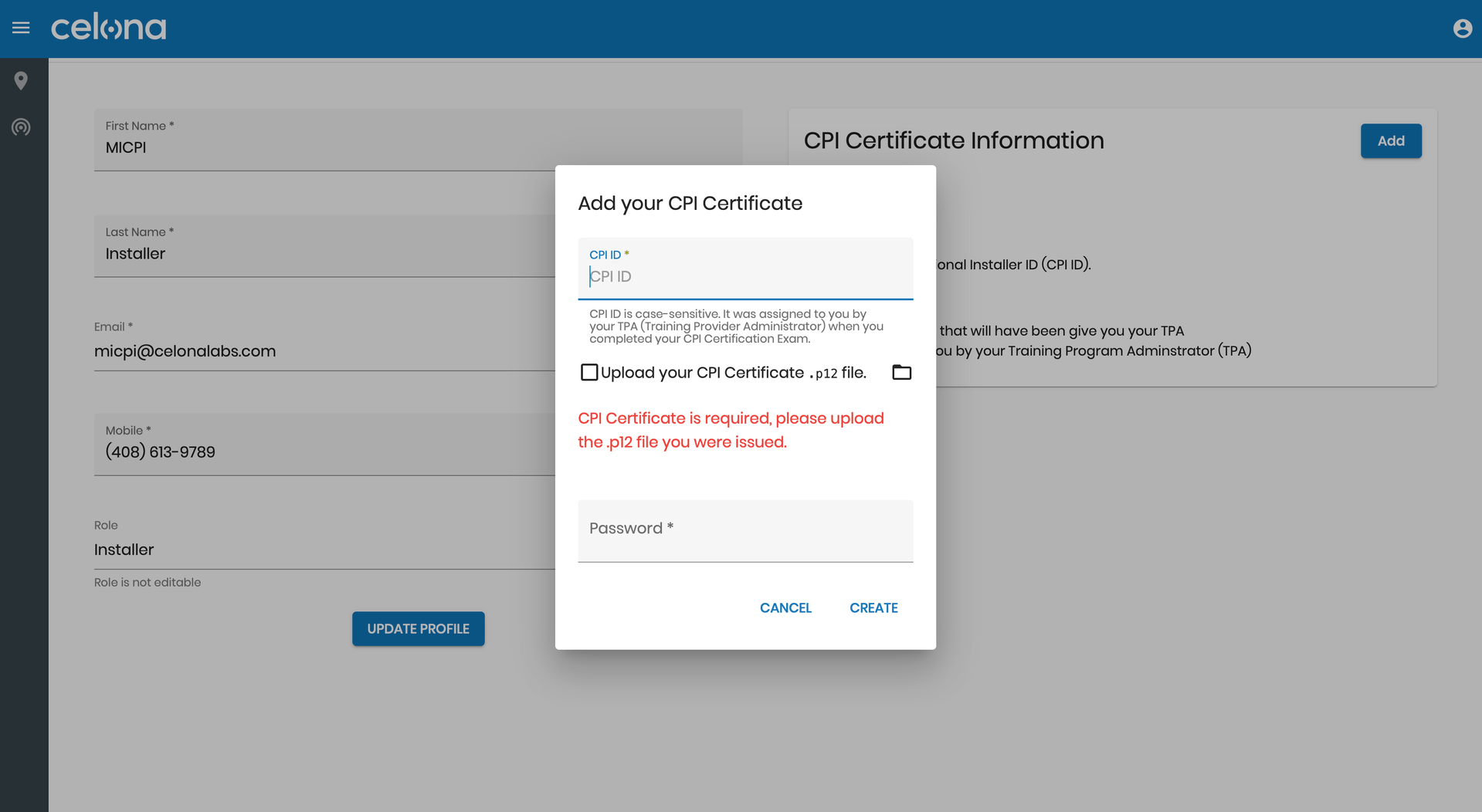 Adding CPI certificate within the Celona Orchestrator