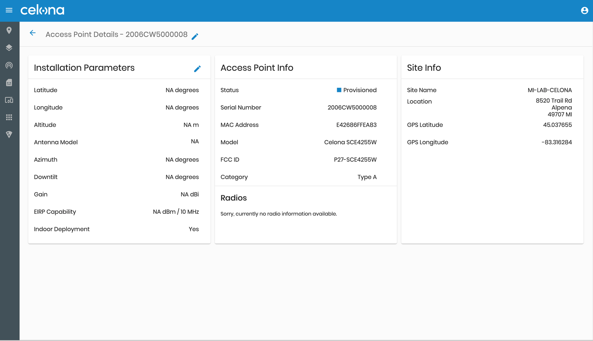 Celona Access Point details in the Orchestrator
