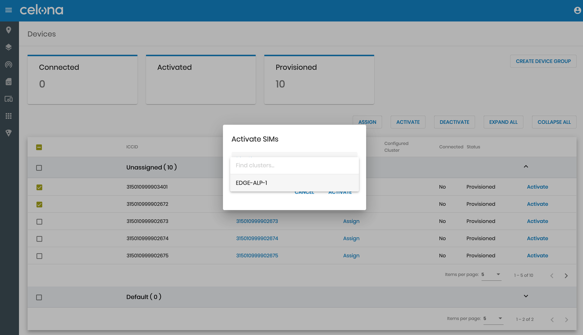 Activating SIM cards within the Celona Orchestrator