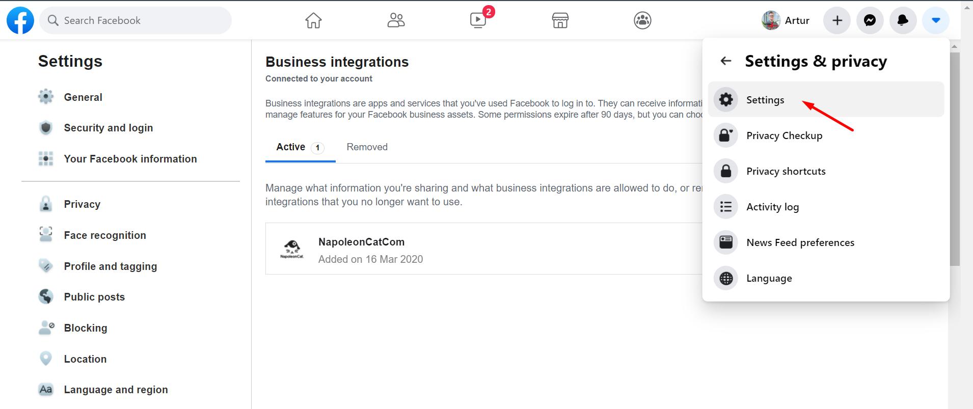 facebook business integrations settings