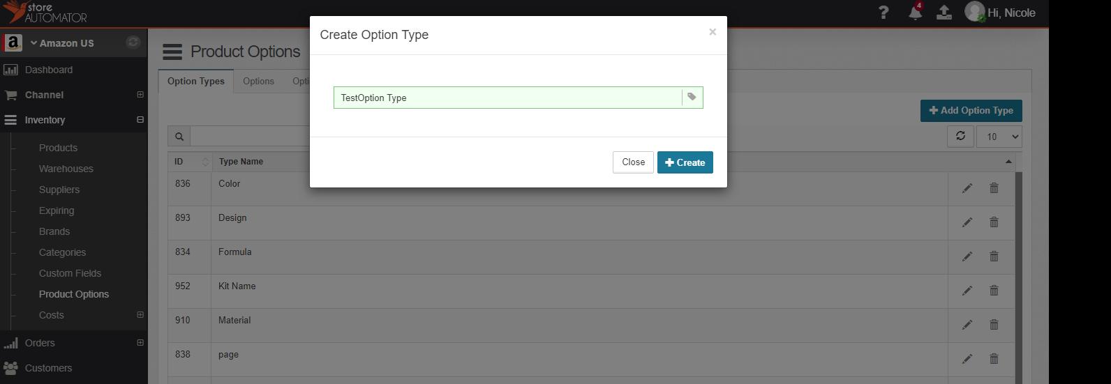 Create Product Option Type