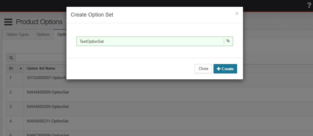 Create Option Sets