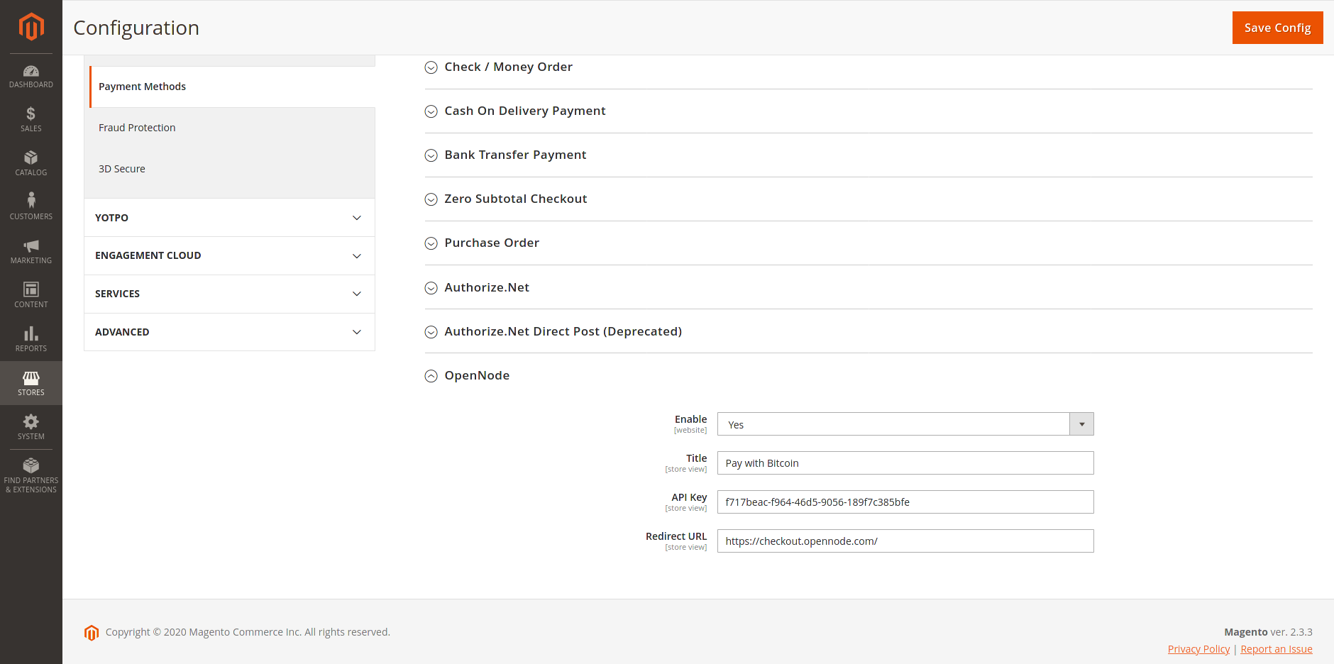 Image of the Magneto dashboard before integrating OpenNode